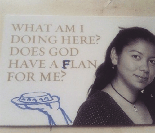 Does God Have A Flan For Me: WHAT AM I  DOING HERE?  DOES GOD  HAVE A FLAN  FOR ME?