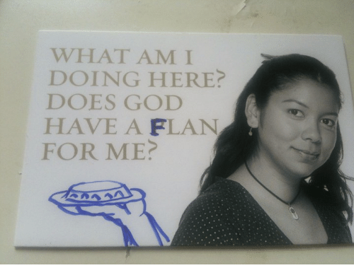 Does God Have A Flan For Me: WHAT AM I  DOING HERE  DOES GOD  HAVE A FLAN  FOR ME