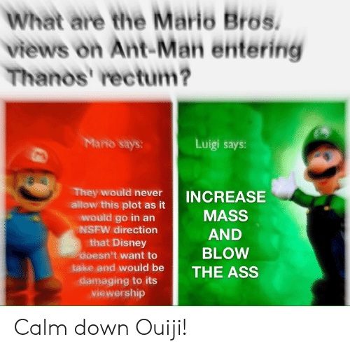 The Ass: What are the Mario Bros.  views on Ant-Man entering  Thanos' rectum?  Mario says:  Luigi says:  They would never  allow this plot as it  would go in an  NSFW direction  that Disney  doesn't want to  INCREASE  MASS  AND  BLOW  take and would be THE ASS  viewership Calm down Ouiji!