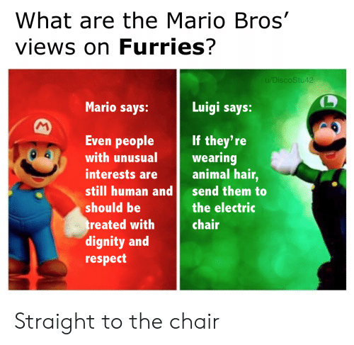 luigi: What are the Mario Bros'  views on Furries?  u/DiscoStu42  Mario says:  Luigi says:  M  Even people  If they're  wearing  animal hair,  with unusual  interests are  still human and  send them to  should be  the electric  treated with  dignity and  respect  chair Straight to the chair