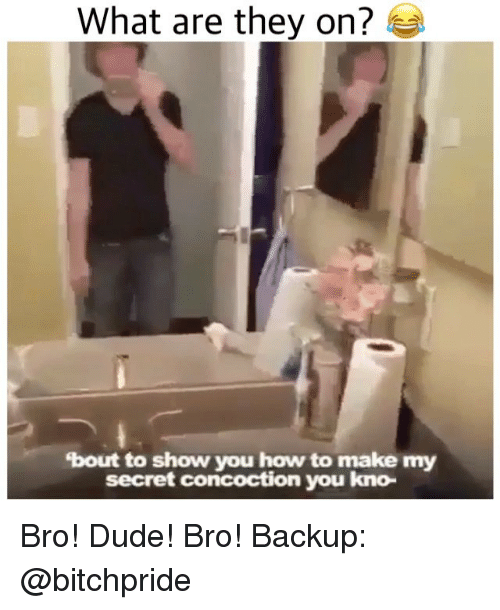 Dude, Memes, and How To: What are they on?  bout to show you how to make my  secret concoction you kno- Bro! Dude! Bro! Backup: @bitchpride