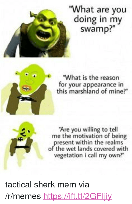 "Memes, Reason, and Mine: ""What are you  doing in my  swamp?""  e""What is the reason  for your appearance in  this marshland of mine?  Are you willing to tell  me the motivation of being  resent within the realms  of the wet lands covered with  vegetation i call my own?"" <p>tactical sherk mem via /r/memes <a href=""https://ift.tt/2GFIjiy"">https://ift.tt/2GFIjiy</a></p>"