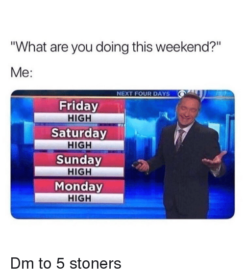 """Friday, Memes, and Monday: """"What are you doing this weekend?""""  Me:  NEXT FOUR DAYS  Friday  HIGH  Saturday  HIGH  Sunday  HIGH  Monday  HIGH Dm to 5 stoners"""