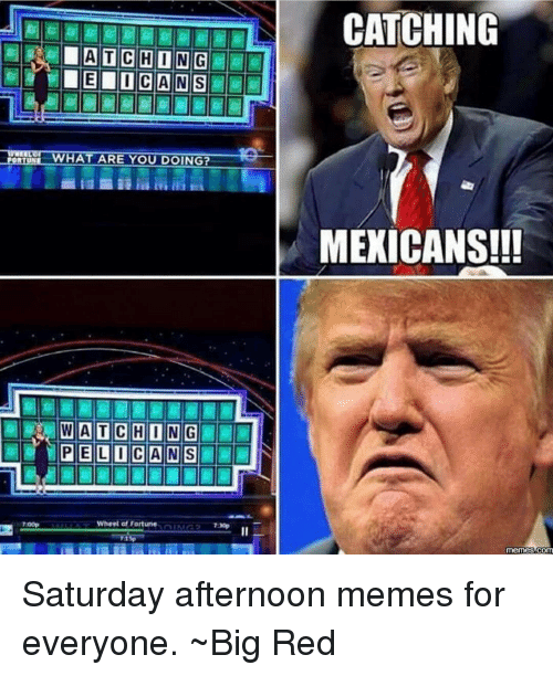 Mexican Meme: WHAT ARE YOU DOING?  WATCHING  Wheel of Fortune  CATCHING  MEXICANS!!!  memes COM Saturday afternoon memes for everyone. ~Big Red