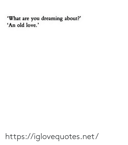 "Love, Old, and Net: ""What are you dreaming about?'  ""An old love.' https://iglovequotes.net/"