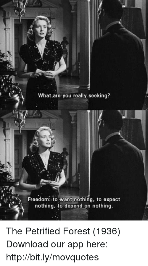 Memes, Http, and Freedom: What are you really seeking?  Freedom to want nothing, to expect  nothing, to depend on nothing The Petrified Forest (1936)  Download our app here: http://bit.ly/movquotes
