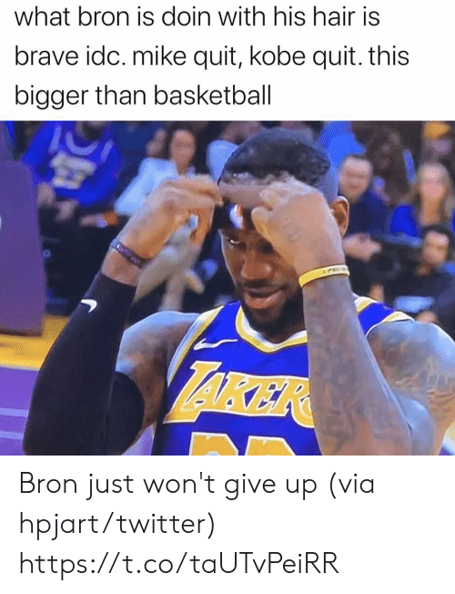 Basketball, Memes, and Twitter: what bron is doin with his hair is  brave idc. mike quit, kobe quit. this  bigger than basketball  AKER Bron just won't give up (via hpjart/twitter) https://t.co/taUTvPeiRR