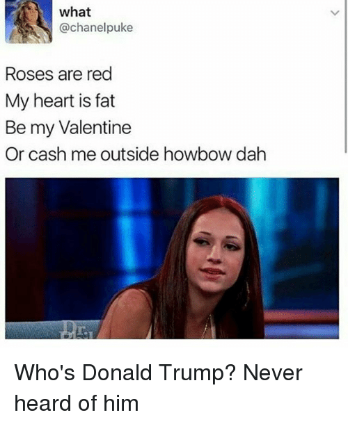Cash Me Outside: what  @chanel puke  Roses are red  My heart is fat  Be my Valentine  Or cash me outside howbow dah Who's Donald Trump? Never heard of him