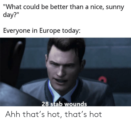 "stab: ""What could be better than a nice, sunny  day?""  Everyone in Europe today:  28 stab wounds Ahh that's hot, that's hot"