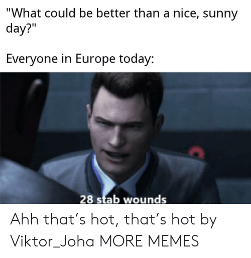 """stab: """"What could be better than a nice, sunny  day?""""  Everyone in Europe today:  28 stab wounds Ahh that's hot, that's hot by Viktor_Joha MORE MEMES"""