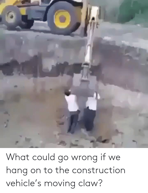 Could: What could go wrong if we hang on to the construction vehicle's moving claw?