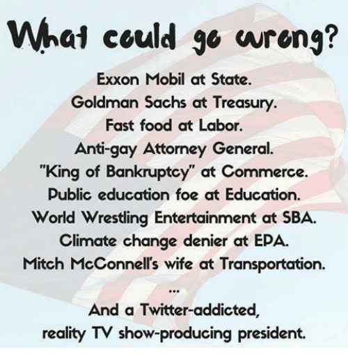 """goldman sach: What could wrong?  Exxon Mobil at State.  Goldman Sachs at Treasury  Fast food at Labor.  Anti-  Attorney General  """"King of Bankruptcy at Commerce.  Public education foe at Education.  World Wrestling Entertainment at SBA.  climate change denier at EPA.  Mitch McConnell's wife at Transportation.  And a Twitter-addicted,  reality TV show-producing president."""