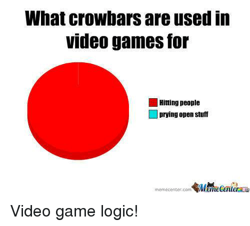 Gaming Logic: What crowbars are used in  Videogames for  Hitting people  prying open stuff  memecenter.com Video game logic!