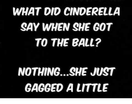 Cinderella , Memes, and 🤖: WHAT DID CINDERELLA  SAY WHEN SHE GOT  TO THE BALL?  NOTHING...SHE JUST  GAGGED A LITTLE