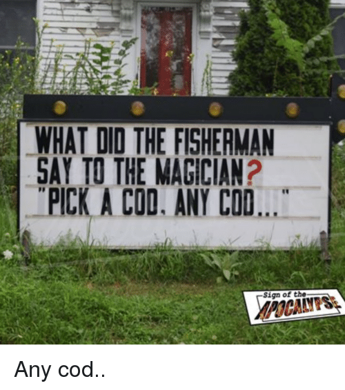 fisherman: WHAT DID THE FISHERMAN  SAY TO THE MAGICIAN?  PICK A COD. ANY COD  Sign of the Any cod..