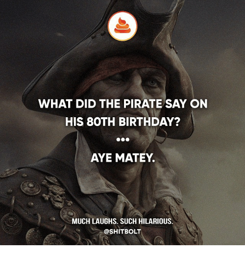 Birthday, Memes, and Shit: WHAT DID THE PIRATE SAY ON  HIS BOTH BIRTHDAY?  AYE MATEY.  MUCH LAUGHS. SUCH HILARIOUS  @SHIT BOLT