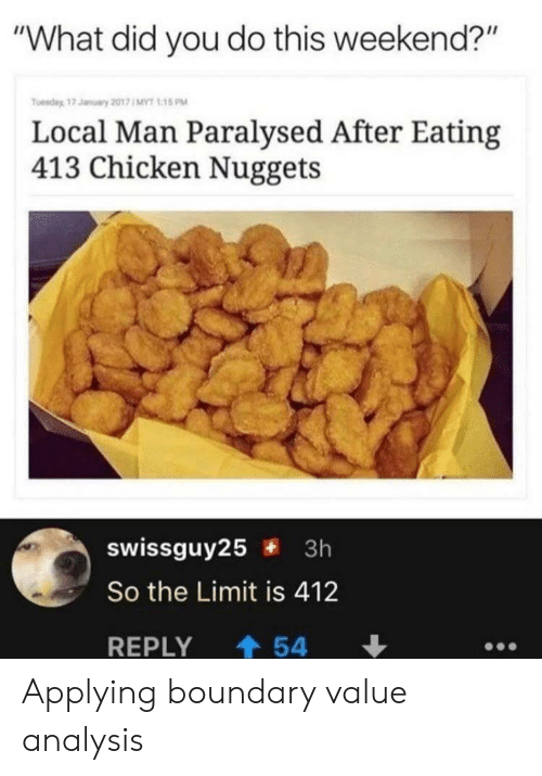 """chicken nuggets: """"What did you do this weekend?""""  Tuesday, 17 January 2017 1 MYT 1:15 PM  Local Man Paralysed After Eating  413 Chicken Nuggets  swissguy25 3h  So the Limit is 412  REPLY  54 Applying boundary value analysis"""