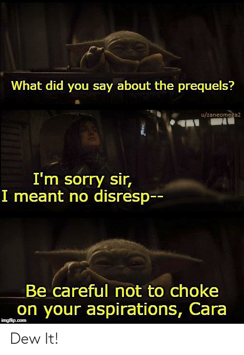 Be Careful Not To Choke On Your Aspirations: What did you say about the prequels?  u/zaneomega2  I'm sorry sir,  I meant no disresp--  Be careful not to choke  on your aspirations, Cara  imgflip.com Dew It!