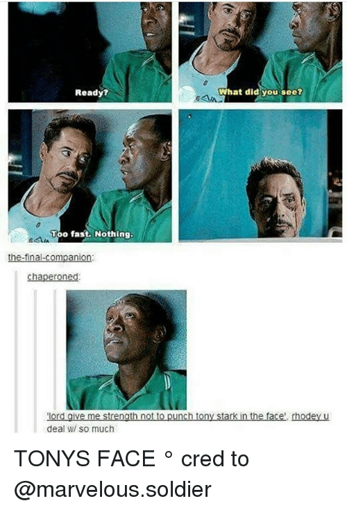 tony stark: What did you see?  Ready?  vao fast. Nothing.  the final Companion  chaperoned.  or  give me strength not to punch tony Stark in the f  rhodey u  deal WI SO much TONYS FACE ° 《cred to @marvelous.soldier 》
