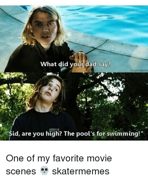 "Dad, Movie, and Skate: What did your dad say?  id, are you high? The pool's for swimming!"" One of my favorite movie scenes 💀 skatermemes"