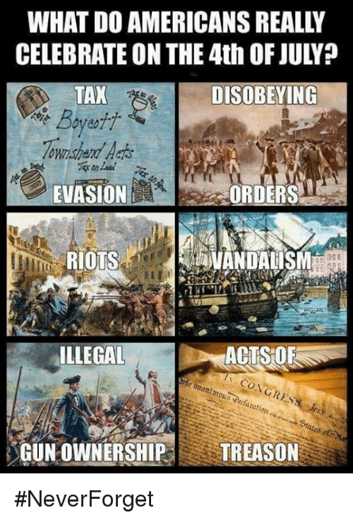 vandalism: WHAT DO AMERICANS REALLY  CELEBRATE ON THE 4th OF JULY?  TAX  ownshard Aaos  EVASIONE  DISOBEYING  ORDERS  RIOTS  VANDALISM  ILLEGAL  ACTS OF  GUN OWNERSHIP TREASON #NeverForget