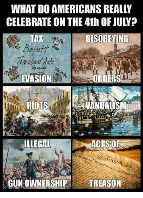 vandalism: WHAT DO AMERICANS REALLY  CELEBRATE ON THE 4th OF JULY?  DISOBEYING  Boyeti  Townshend Acts  EVASION  RIOTS  ORDERS  VANDALISM  ILLEGAL  gration  GUNOWNERSHIP TREASON