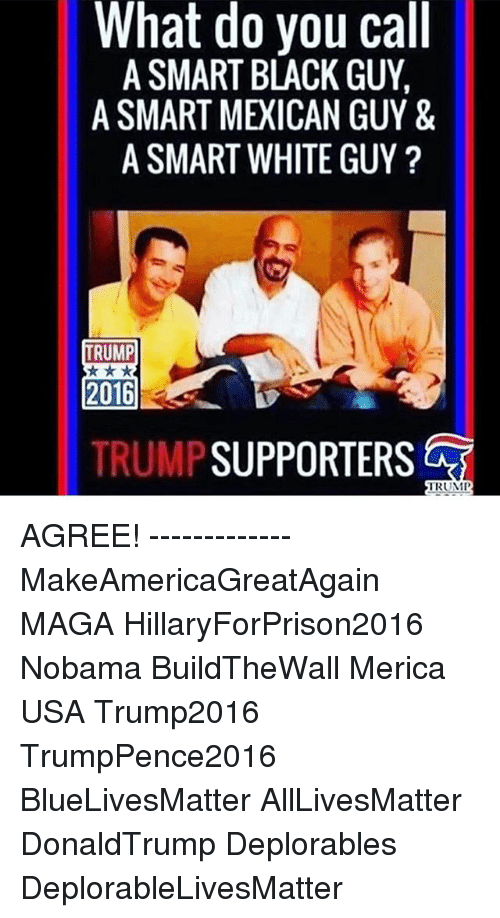 Hillaryforprison2016: What do you call  A SMART BLACK GUY.  A SMART MEICAN GUY &  A SMART WHITE GUY  TRUMP  2016  TRUMP  SUPPORTERS  TRUMP AGREE! ------------- MakeAmericaGreatAgain MAGA HillaryForPrison2016 Nobama BuildTheWall Merica USA Trump2016 TrumpPence2016 BlueLivesMatter AllLivesMatter DonaldTrump Deplorables DeplorableLivesMatter