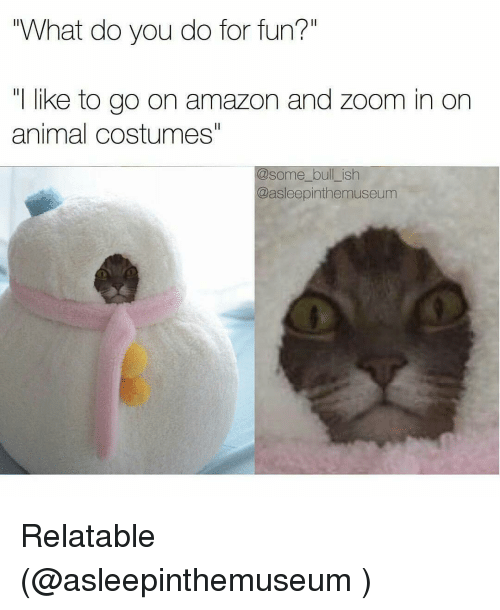 "Amazon, Funny, and Zoom: ""What do you do for fun?""  I like to go on amazon and Zoom in on  animal costumes!  @some bull ish  Qasleepinthemuseum Relatable (@asleepinthemuseum )"