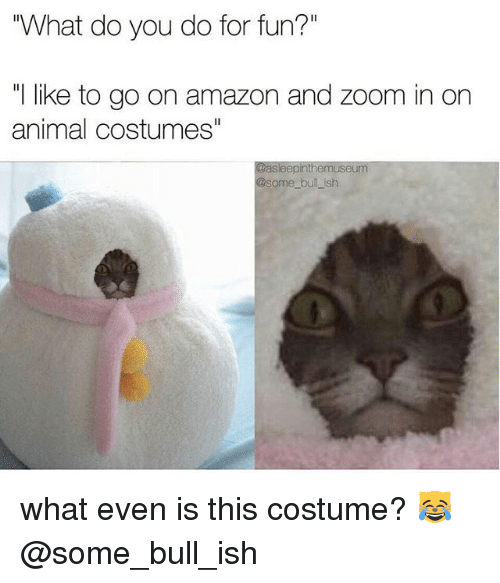"""zoom ins: """"What do you do for fun?""""  like to go on amazon and zoom in on  animal costumes""""  Gasleepinthemuseum  some bullish what even is this costume? 😹@some_bull_ish"""