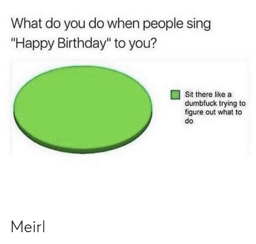 """happy birthday to you: What do you do when people sing  """"Happy Birthday"""" to you?  Sit there like a  dumbfuck trying to  figure out what to  do Meirl"""