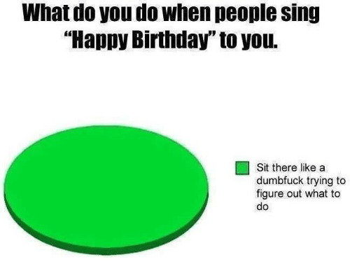 """Birthday, Memes, and Singing: What do you do When people sing  """"Happy Birthday"""" to you.  Sit there like a  dumbfuck trying to  figure out what to  do"""