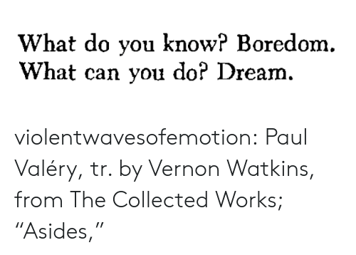 "Do You Know: What do you know? Boredom.  What can you do? Dream. violentwavesofemotion:  Paul Valéry, tr. by Vernon Watkins, from The Collected Works; ""Asides,"""