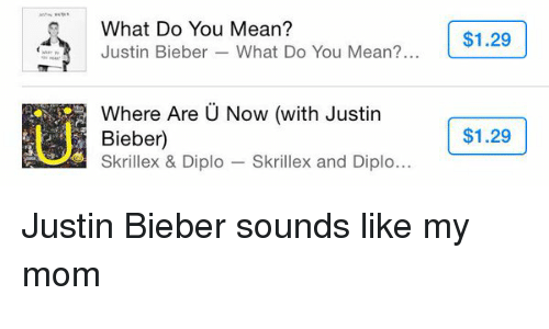skrillex: What Do You Mean?  $1.29  Justin Bieber What Do You Mean?  Where Are U Now (with Justin  $1.29  Bieber  Skrillex & Diplo  Skrillex and Diplo Justin Bieber sounds like my mom