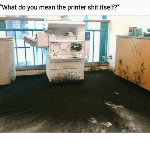 """printer: """"What do you mean the printer shit itself?"""" The printer did WHAT?!"""