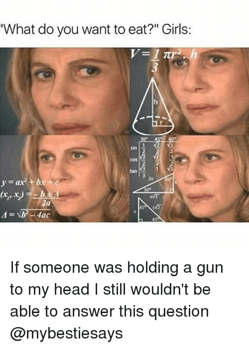 """Girls, Head, and Girl Memes: What do you want to eat?"""" Girls:  2  2  cos  2  2x  y=ax2 + bx+ c  5 If someone was holding a gun to my head I still wouldn't be able to answer this question @mybestiesays"""
