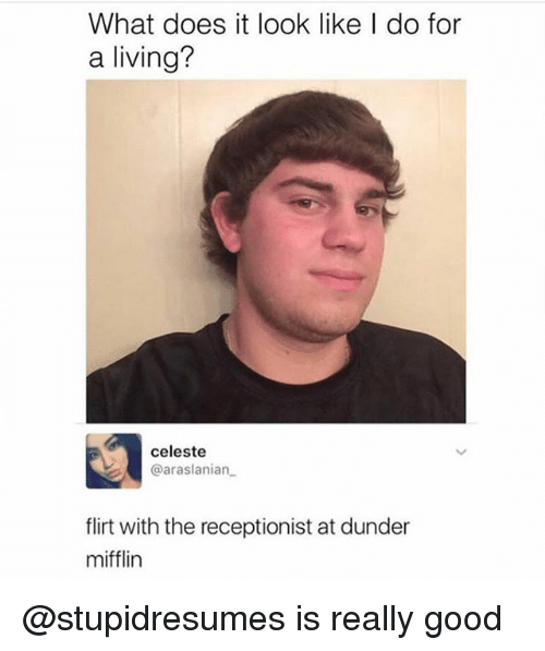 What Does It Look Like I Do For A Living: What does it look like I do for  a living?  celeste  @araslanian  flirt with the receptionist at dunder  mifflin @stupidresumes is really good