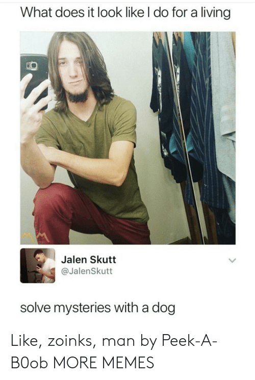 Zoinks: What does it look like l do for a living  Jalen Skutt  @JalenSkutt  solve mysteries with a dog Like, zoinks, man by Peek-A-B0ob MORE MEMES