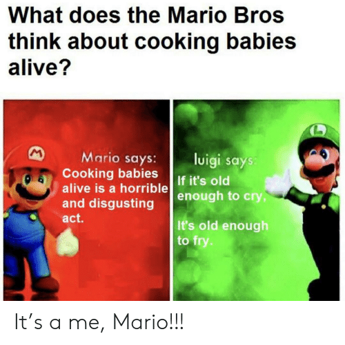 luigi: What does the Mario Bros  think about cooking babies  alive?  M  Mario says:  Cooking babies  alive is a horrible  and disgusting  luigi says:  If it's old  enough to cry,  act.  It's old enough  to fry. It's a me, Mario!!!