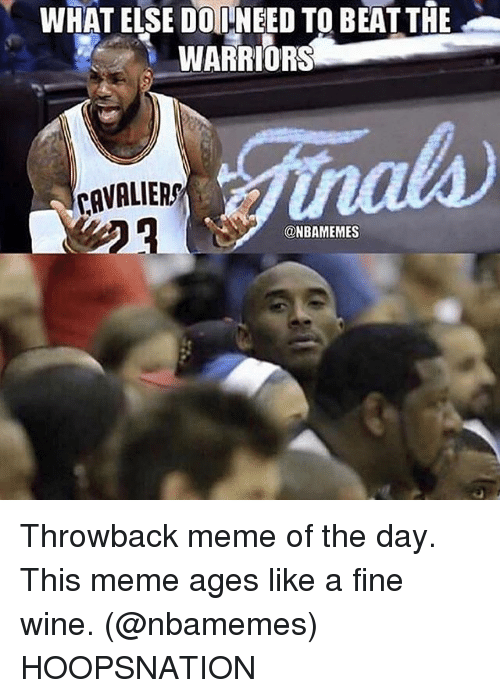 Meme, Memes, and Wine: WHAT ELSE DO NEED TO BEATTHE  WARRIORS  CAVALIERS  @NBAMEMES Throwback meme of the day. This meme ages like a fine wine. (@nbamemes) HOOPSNATION
