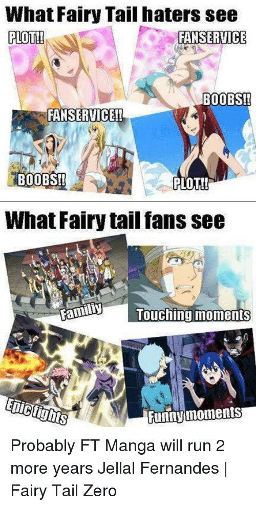 Funny Moment: What Fairy Tail haters see  PLOT!!  FAN SERVICE  BOOBS!!  FANSERVICE!!  BOOBS!!  PLOT!  What Fairy tail fans see  Familiy  Touching moments  Funny moments Probably FT Manga will run 2 more years   Jellal Fernandes | Fairy Tail Zero