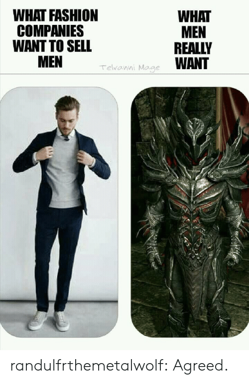 What Men Really Want: WHAT FASHION  COMPANIES  WANT TO SELL  WHAT  MEN  REALLY  WANT  Telvanni Mage randulfrthemetalwolf:  Agreed.