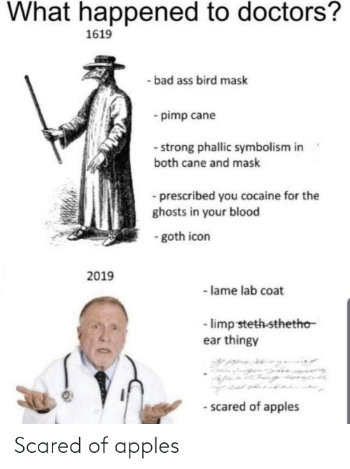 symbolism: What happened to doctors?  1619  - bad ass bird mask  - pimp cane  - strong phallic symbolism in  both cane and mask  - prescribed you cocaine for the  ghosts in your blood  - goth icon  2019  - lame lab coat  - limp steth-sthetho  ear thingy  - scared of apples Scared of apples