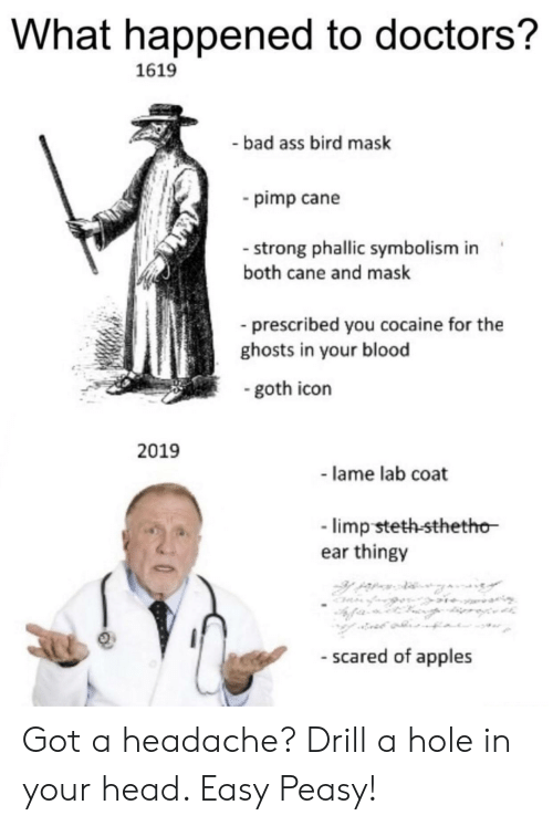 symbolism: What happened to doctors?  1619  bad ass bird mask  pimp cane  - strong phallic symbolism in  both cane and mask  prescribed you cocaine for the  ghosts in your blood  goth icon  2019  - lame lab coat  limp steth-sthetho  ear thingy  - scared of apples Got a headache? Drill a hole in your head. Easy Peasy!