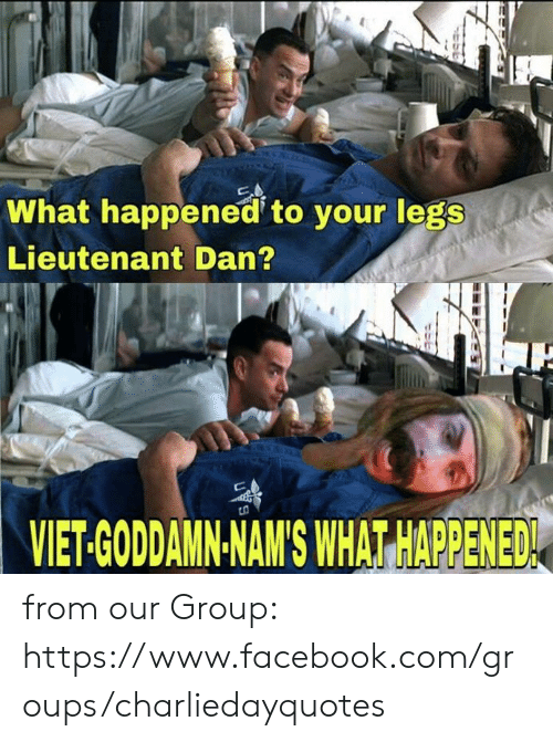 Lieutenant: What happened to your legs  Lieutenant Dan?  VIET-GODDAMN-NAM'S WHAT HAPPENED from our Group: https://www.facebook.com/groups/charliedayquotes