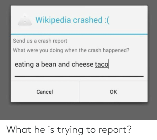 Report: What he is trying to report?