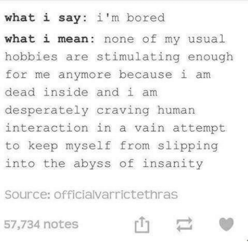 Bored, Mean, and Insanity: what i say: i 'm bored  what i mean: none of my usual  hobbies are stimulating enough  for me anymore because i am  dead inside and i am  desperately craving human  interaction in a vain attempt.  to keep myself from slipping  into the abyss of insanity  Source: officialvarrictethras  57,734 notes  也ー