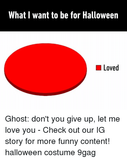 Me Love You: What I want to be for Halloween  Loved Ghost: don't you give up, let me love you⠀ -⠀ Check out our IG story for more funny content!⠀ halloween costume 9gag