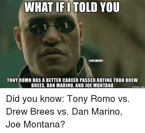 Joe Montana: WHAT IF I TOLD YOU  @NFLMEMEL  TONY ROMO HAS A BETTER CAREER PASSER RATING THAN DREW  BREES, DAN MARINO, AND JOE MONTANA  HYPUN.COM Did you know: Tony Romo vs. Drew Brees vs. Dan Marino, Joe Montana?