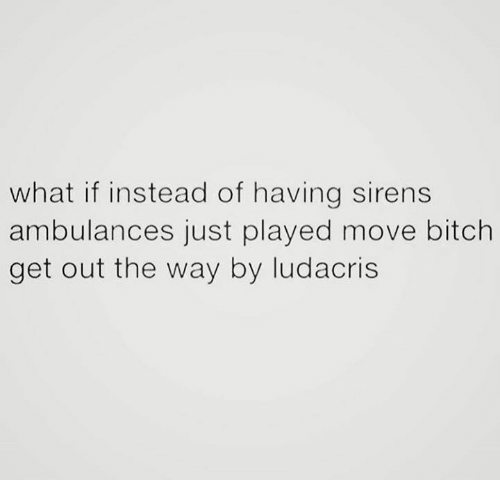 Bitch, Ludacris, and Move Bitch: what if instead of having sirens  ambulances just played move bitch  get out the way by ludacris