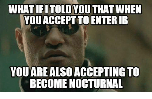 International Baccalaureate: WHAT IF ITOLDYOUTHATWHEN  YOUACCEPTTO ENTERIB  YOU ARE ALSO ACCEPTING TO  BECOME NOCTURNAL